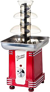 Máquina de fuente de chocolate roja vintage metálica, fuente de chocolate giratoria de cuatro capas, fuente de cascada automática de chocolate Máquina de olla