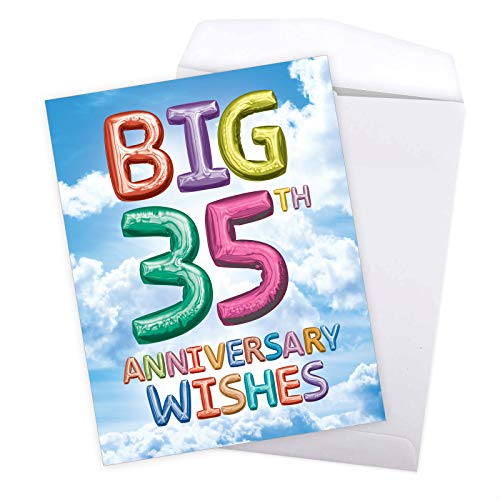 NobleWorks - Big Happy 35th Anniversary Card from All of Us (8.5 x 11 Inch) - Jumbo Milestone 35 Years of Marriage, Wedding Anniversary (Not 3D or Raised) - Inflated Messages 35 J9432MAG-US