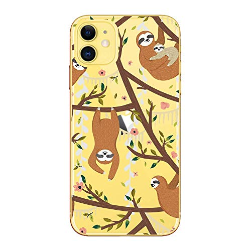 iPhone 11 (6.1 inch) Case,Blingy's Fun Sloth Style Transparent Clear Soft TPU Protective Case Compatible for iPhone 11 6.1' 2019 Release (Sloths in Trees)