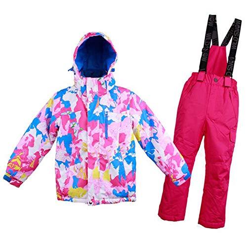 Bycloth Skianzug für Jungen und Mädchen Winter Kinder Schneesturm wasserdichte warme Schneejacke und Hosen Snowboard-Kleidung,Girl,120CM