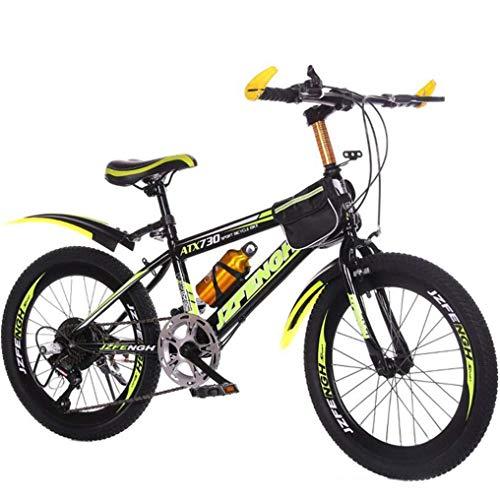 WJSW Kinder-Mountainbikes Kinder-Schülerfahrrad, Outdoor-Rennrad (Farbe: Schwarz-Gelb, Größe: 24 Zoll)