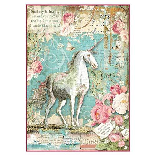 American Crafts Stamperia Rice Paper Sheet A4-Wonderland Unicorn
