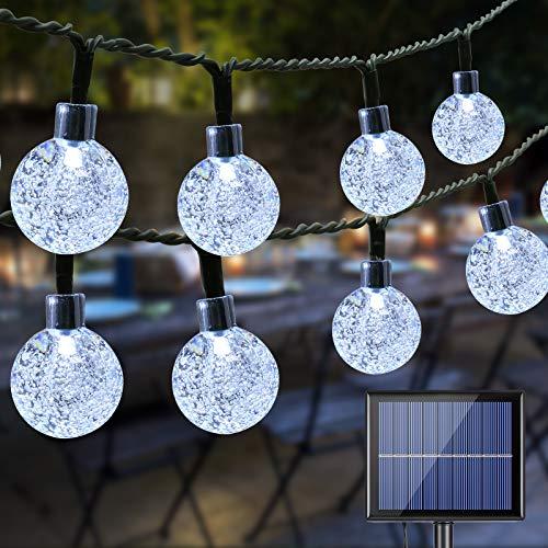 Guirnalda Luces Exterior Solar, BrizLabs 20M 100 LED Luces Led Solares Exteriores Bola de Cristal Impermeable 8 Modos Cadena de Luces Decoración para Jardín Terraza Patio Boda Fiesta, Blanco Frío