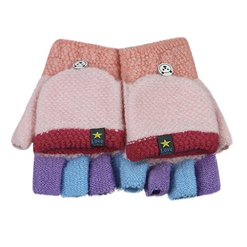 Baby Toddler Knitted Convertible Fingerless Gloves Cartoon Warm Flip Top Gloves Mittens Super Soft Windproof Cold-proof Outdoor Gloves Costume Accessories Gifts for 1-5 Y Kids
