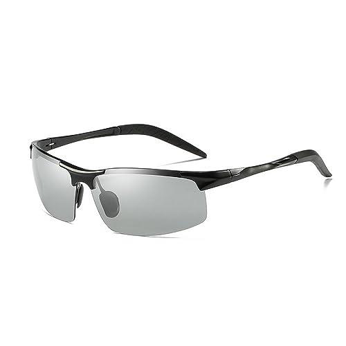 19082b01c8 MINCL Polarized Photochromic Lens Sunglasses Driving Cycling Semi Frame for  Men UV400