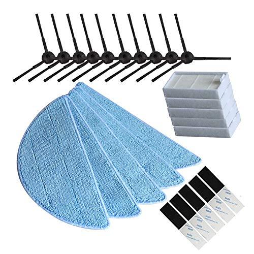 Nrpfell 10 x Seiten bürste + 5X Hepa Filter + 5 x Mop Tuch + 5 x Magic Paste Zubeh?r für ilife v5s ilife v5 pro x5 V5 V3 V50 Vakuum Staubsauger zubeh?r