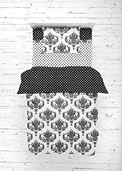 Bacati - Classic Damask Black/White 4 Pc Neutral dler Bedding Set 100 Percent Cotton Includes Reversible Comforter Fitted Sheet Top Sheet and Pillow Case for Boys/Girls