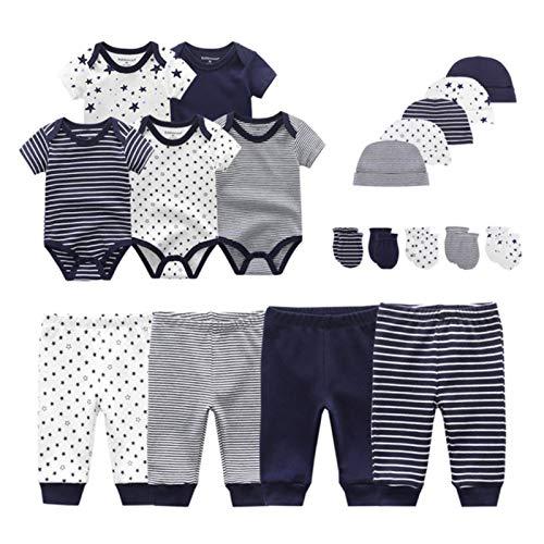 TOOKEN Algodón sólido recién Nacido bebé Juegos Unisex Body Pantalones Sombreros Guantes bebé niña niño Ropa de Manga Corta