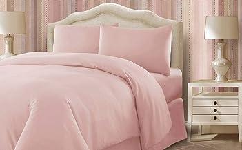اطقم اغطية سرير مصنعة من نسيج قطن من شركة ترف بتصميم لون موحد ، لون زهري - قياس كينغ