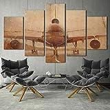 183Tdfc Avión De Aeropuerto Retro Vintage 5 Piezas Cuadros Lienzo Decoracion Salon Modernos De Pared Lienzos Colgando Papel Pintado Murales Pintura Fotos Regalo 150X80Cm(con Marco