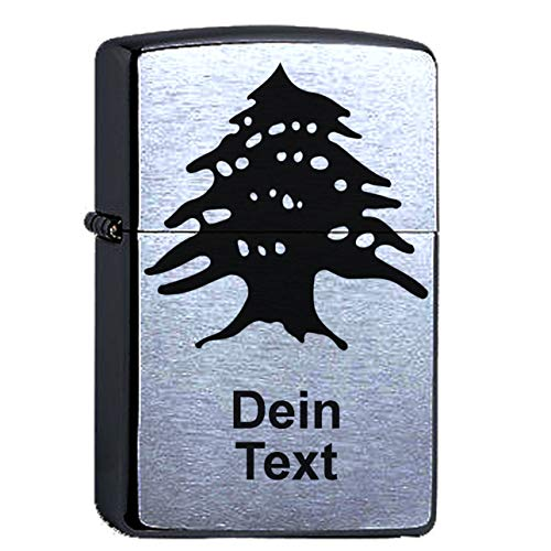 Zippo mit Gravur Libanon Zeder mit Wunschtext. Original Chrome Brushed personalisiert. Wunschtext Zedernbaum Yallah Habibi libanesisch graviert