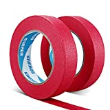 KIWIHUB Painter's Tape, 1'(25mm) x 60 yd (120 Yards Total), 2 Rolls - Red Painting & Masking Tape - Multi Surface Use - 14 Day Clean Release Trim Edge Finishing Tape