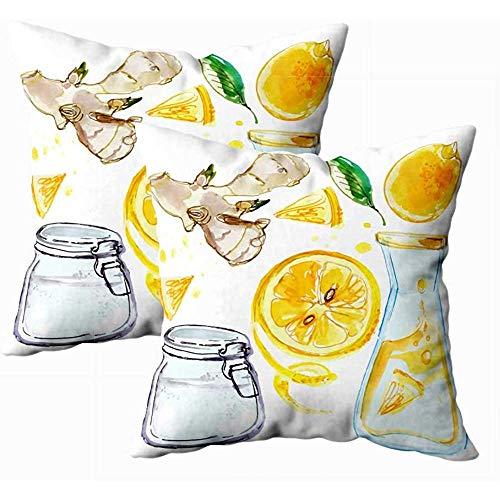 sherry-shop Kissenbezüge Dekoration Limonade Zitronen und Ingwer Flasche Limonade Zitronensaft Aquarell Zeichnungen auf Platz