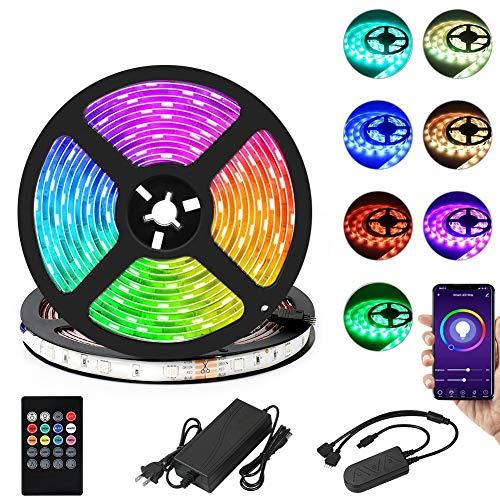 Tiras LED SMD 5050 RGB 10M 300LED con WiFi Bluetooth Control Remoto Luz de Tira LED Impermeables IP65 Led Iluminación Multicolor para Bar, Fiesta,Habitación,Exteriores, Decoración