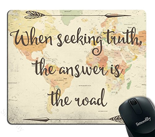 Smooffly Gaming Mouse Pad Custom,Old Style World map with Inspirational Quote Mouse pad 9.5 X 7.9 Inch (240mmX200mmX3mm)