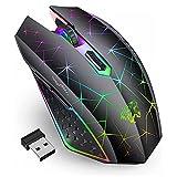 Uiosmuph V7 Kabellose Maus, 2.4Ghz Gaming Maus Funkmaus wiederaufladbar Wireless Mouse mit 6 Tasten...