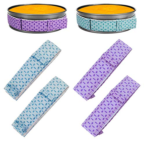 4 Pcs Cake Strips, Global-store Bake Even Cake Pan Dampen Strips, Cake Pan Strips, Super Absorbent Thick Cotton, Keep Cakes More Level & Prevents Crown (2 Purple + 2 Blue)