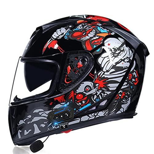 Casco de motocicleta modular de cara completa Casco de motocicleta de doble visera con tapa integrada Bluetooth para hombres y mujeres adultos Casco de moto ciclomotor aprobado por DOT/ECE,H,M