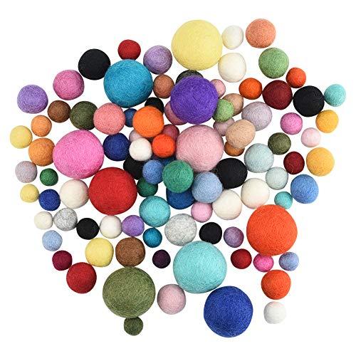 Demine - Feltro Palla Mini Pompon Piccolo Palline Pom in 100% Lana per Creativo Artigianale e Forniture Poms Hobby Natale, Colorati Assortiti Serie (1.2/1.5/2 / 3 cm)