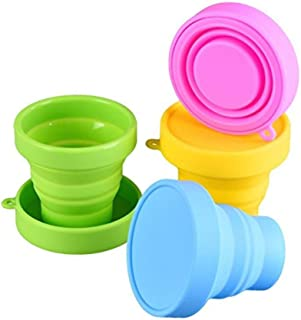 Silicone Collapsible Travel Cup - Food Grade Silicone & PP BPA Free Silicone Folding Camping Cup with Lids - Expandable Dr...