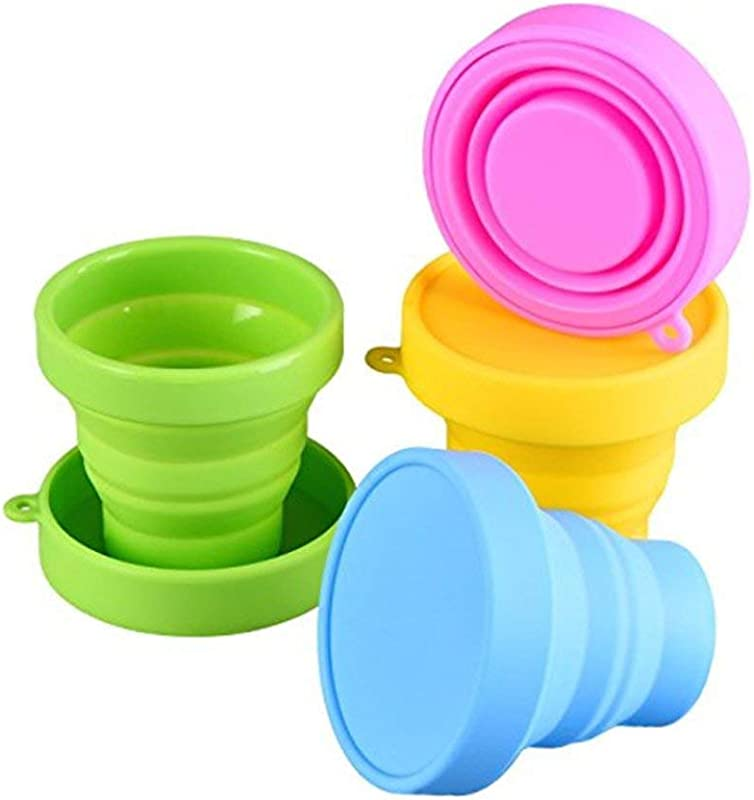 Silicone Collapsible Travel Cup Food Grade Silicone PP BPA Free Silicone Folding Camping Cup With Lids Expandable Drinking Cup Set Portable Graduated For Outdoor Camping And Hiking