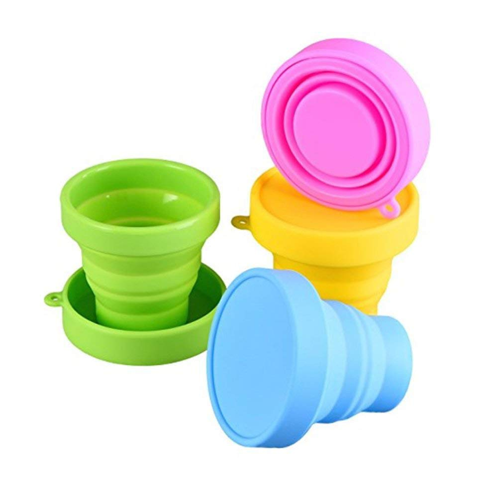 Silicone Collapsible Travel Cup - Food Grade Silicone & PP BPA Free Silicone Folding Camping Cup with Lids - Expandable Drinking Cup Set - Portable, Graduated for Outdoor Camping and Hiking