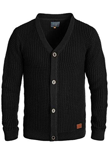 Blend Waldo Herren Strickjacke Cardigan Grobstrick Winter Pullover mit V-Ausschnitt, Größe:M, Farbe:Black (70155)