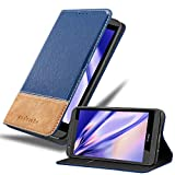 Cadorabo Hülle für HTC Desire 820 in DUNKEL BLAU BRAUN – Handyhülle mit Magnetverschluss, Standfunktion & Kartenfach – Hülle Cover Schutzhülle Etui Tasche Book Klapp Style
