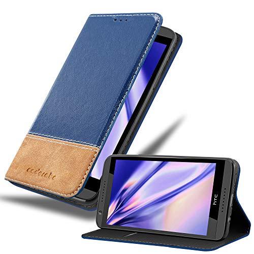 Cadorabo Hülle für HTC Desire 820 - Hülle in DUNKEL BLAU BRAUN – Handyhülle mit Standfunktion und Kartenfach aus Einer Kunstlederkombi - Case Cover Schutzhülle Etui Tasche Book