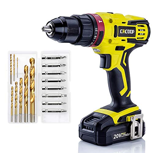 CACOOP 20V 1/2'' Cordless Hammer Drill w/ 2.0Ah Battery,1H Fast Charger,2-Variable Speed,Professional HSS Bits,Keyless Metal Chuck