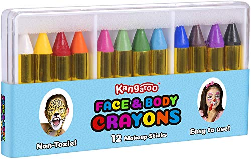 Kangaroo Face Paint Crayons for Kids Face & Body Painting Makeup Crayons, Safe for Sensitive Skin (12 Count)