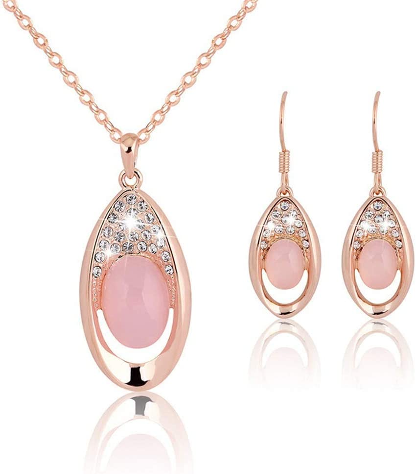 Urns Ashes Funeral Women's Jewelry Set Pendant Neckle Stud Earring Set Created-Opal Rose Gold Jewelry for Women Neckle Earrings Set Wedding (Color : Pink, Size : Free Size),Size:Free Size,Colour:Pink