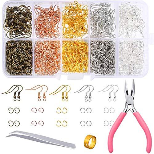 ZOYLINK Kit De ReparacióN De Pendientes Accesorios De Gancho De Pendientes Anillos De Salto Abiertos De Metal Surtidos De Bricolaje