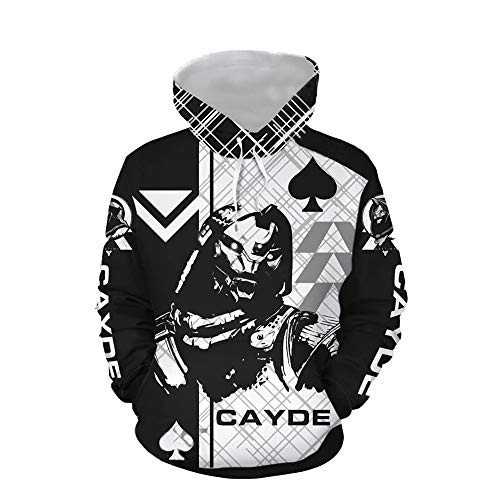 Cayde 6 Hoodie Pullover Sweatshirt Game Cosplay Costume for Unisex (Large, Black)