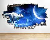 Wandtattoo Wolf Nacht Mond Fantasy R Wandaufkleber Wandaufkleber Kinderzimmer 3D-50x70cm