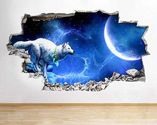 Wandtattoo Wall Stickers Wolf Night Moon Stars Gold Window Decal 3D Art Vinyl Room G094