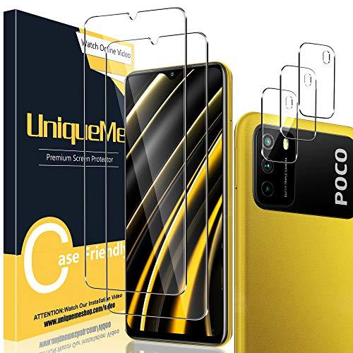 [2 Pack] UniqueMe Protector de Pantalla Compatible con Xiaomi Poco M3 (No Poco M3 Pro 5G) + [3 Pack] Protector de Lente de cámara, Vidrio Templado [9H Dureza] HD Film Cristal Templado Sin burbujas