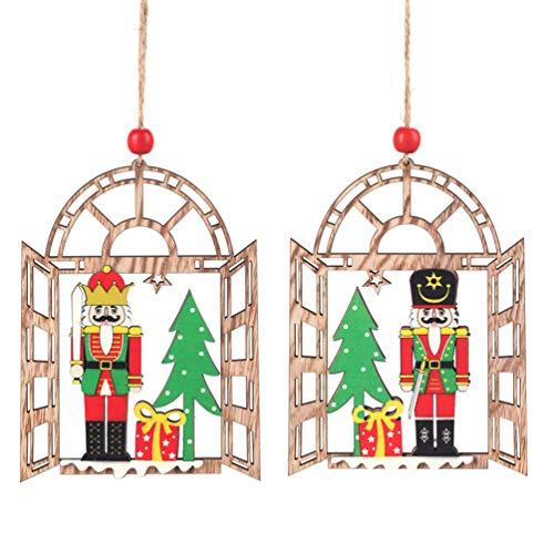 Amosfun 2Pcs Christmas Nutcrackers Hanging Ornament Xmas Mini Wooden King Nutcracker Figures Embellishment Xmas Tree Topper For Xmas Party Home Decoration