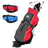 Beirui Reflective Waterproof Dog Winter Jackets for Large Dogs - Windproof Fleece Lined Warm Dog Coats with Harness & Leash Holes,Red,5XL