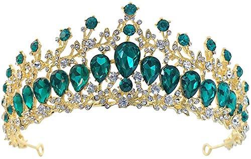 KEEBON Coronas Vintage y Tiaras Accesorios para niñas Accesorios para el Cabello Rhinestones Crown Boda Tiaras para Accesorios de Disfraces con Piedras Preciosas (Color : Green)