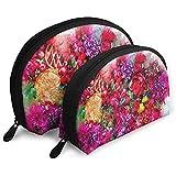 Ramo de Flores Arte Acuarela Bolsas portátiles Bolsa de Maquillaje Bolsa de Aseo Bolsas de Viaje portátiles multifunción con Cremallera