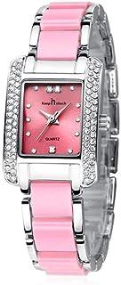 Women's Quartz Watch with Alloy Crystal Case Rectangle Rhinestone Dial Exquisite Bracelet Dress Wristwatch