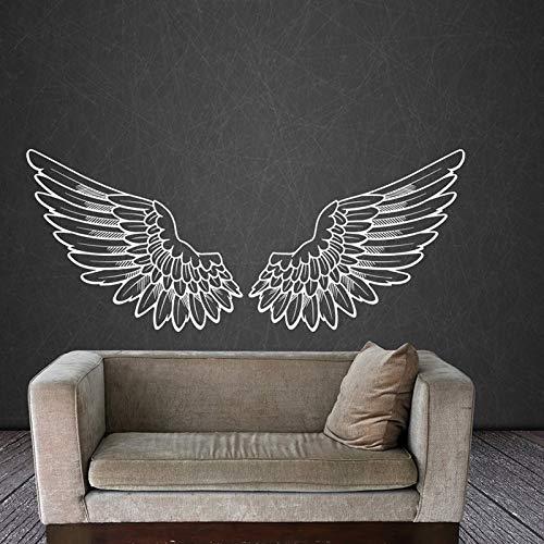 Pegatina de pared,Alas de ángel calcomanía de pared calcomanía de vinilo calcomanías de pájaros Dios alas grandes decoración del hogar arte Mural dormitorio sala de estar 137 × 57 cm