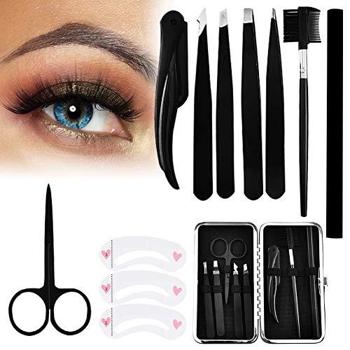 Augenbrauen set,augenbrauenformer set,augenbrauen pflege set,Pinzette, Rasiermesser, Schere, Augenbrauenpinsel und -kamm, Augenbrauenstift, Augenbrauenschablone , Reisetasche für Frauen und Männer