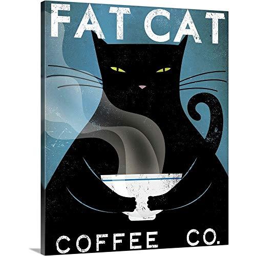 Cat Coffee no City Canvas Wall Art Print, Cat Artwork