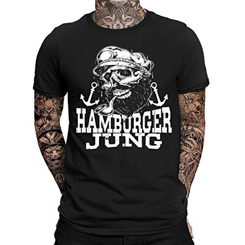 Hamburger Jung T-Shirt | Moin Moin|Hamburg | Lustig | Fun | Spaß | Kiez | Reeperbahn | Elbe | Hafencity | Norddeutsch | Ostsee | Anker | Seemann | Sailor | Bart | Herren | Männer T-Shirt