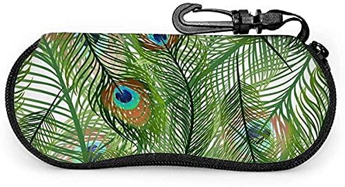 Tcerlcir Estuche para gafas Green Peacock Dragonfly Seamless-Green Peacock Dragonfly Estuche para gafas de sol suave sin costuras Estuche para anteojos para mujeres y hombres, 17x8cm