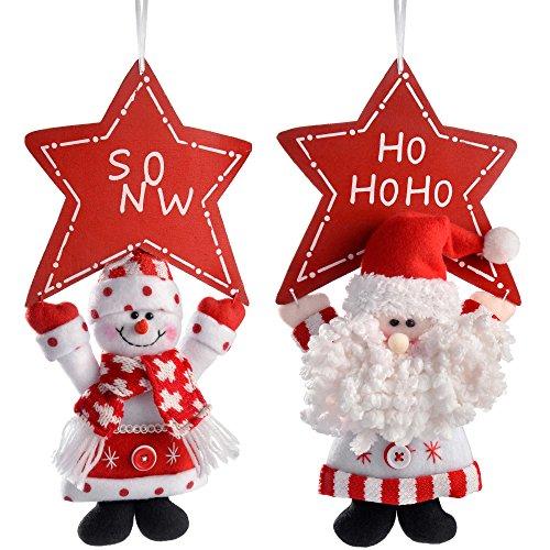 WeRChristmas–Figura Decorativa para Colgar de Papá Noel y muñeco de Nieve con Estrella, 30cm, Multicolor,...
