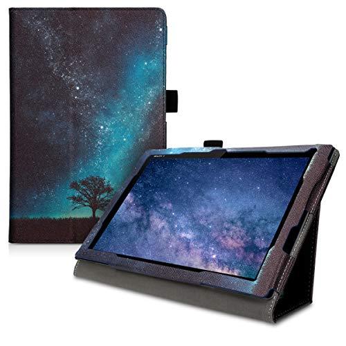 kwmobile Custodia Compatibile con Sony Xperia Tablet Z4 - Cover Tablet con Supporto - Copertina in Pelle PU Smart Case con Stand - Natura e Spazio Blu/Grigio/Nero