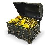 Toyvian Mini Cofre del Tesoro Pirata con 100 Monedas de Oro, 100 Gemas de...